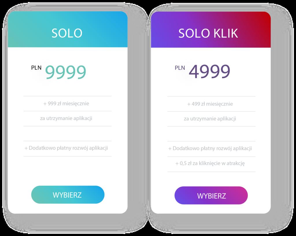 Cena indywidulanej, jednostkowej aplikacji dla hotelu.